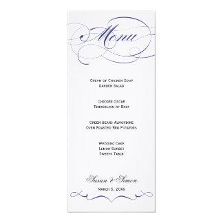 Menú elegante del boda de la escritura - marina de invitacion personalizada