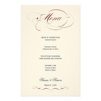 Menú elegante del boda de la escritura - marrón personalized stationery