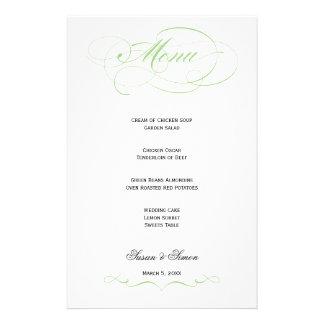 Menú elegante del boda de la escritura - menta papelería de diseño