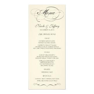 Menú elegante del boda de la escritura - negro anuncio