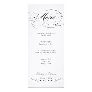 Menú elegante del boda de la escritura - negro comunicado personalizado