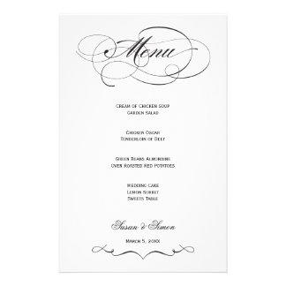 Menú elegante del boda de la escritura - negro papeleria de diseño