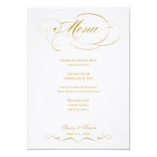 """Menú elegante del boda de la escritura - oro invitación 4.5"""" x 6.25"""""""
