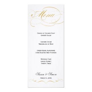 """Menú elegante del boda de la escritura - oro invitación 4"""" x 9.25"""""""