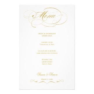 Menú elegante del boda de la escritura - oro papeleria personalizada
