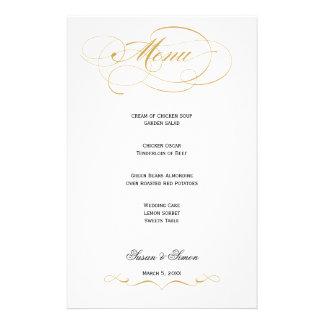 Menú elegante del boda de la escritura - oro papelería