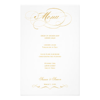 Menú elegante del boda de la escritura - oro  papeleria