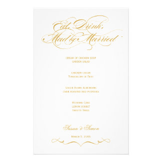 Menú elegante del boda de la escritura - oro papelería personalizada