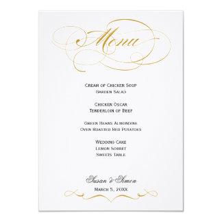 """Menú elegante del boda de la escritura - oro y invitación 4.5"""" x 6.25"""""""