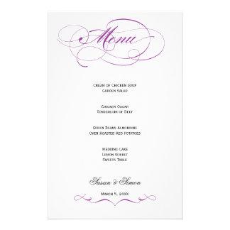 Menú elegante del boda de la escritura - púrpura papelería personalizada