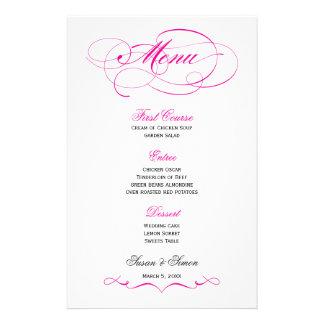 Menú elegante del boda de la escritura - rosa bril papelería personalizada