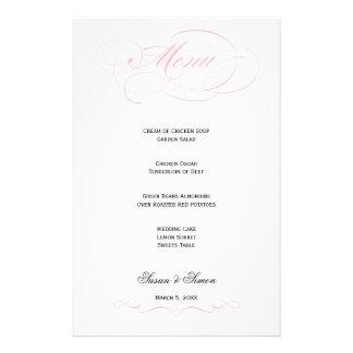 Menú elegante del boda de la escritura - ruboríces papelería