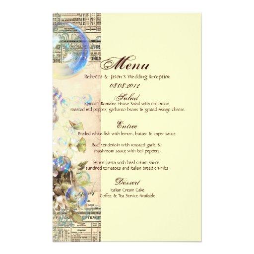 Menú elegante del boda de la mariposa del seashell papelería de diseño