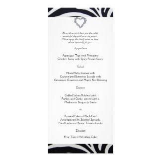 Menú elegante del boda de la raya de la cebra diseño de tarjeta publicitaria