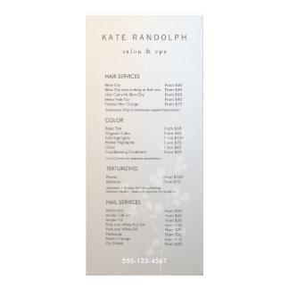 Menú elegante del servicio de la lista de precios plantillas de lonas