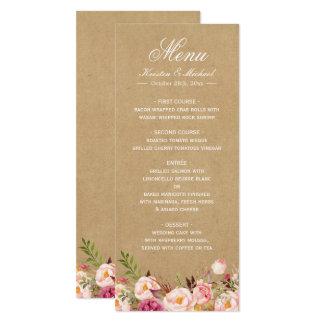 """Menú elegante elegante floral rústico del boda de invitación 4"""" x 9.25"""""""