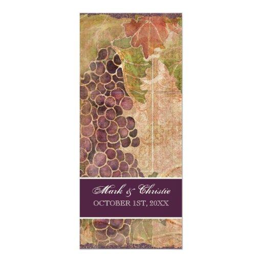 Menú envejecido de la cena de boda del viñedo de invitación 10,1 x 23,5 cm