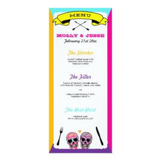 Menú esquelético de la cena de boda - neón invitación 10,1 x 23,5 cm