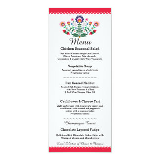 Menu Fiesta Party Mexican Red Wedding Reception Card