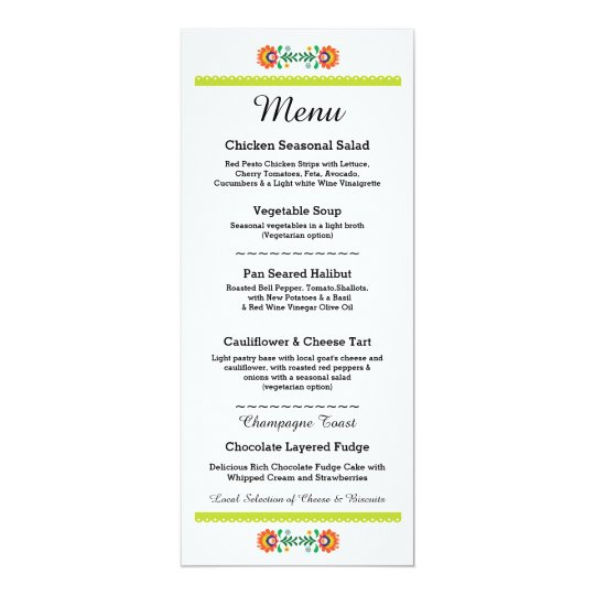 Menu Fiesta Party Mexican Wedding Lime Reception Card