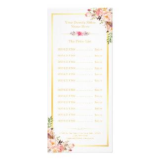 Menú floral de la lista de precios del marco plantillas de lonas