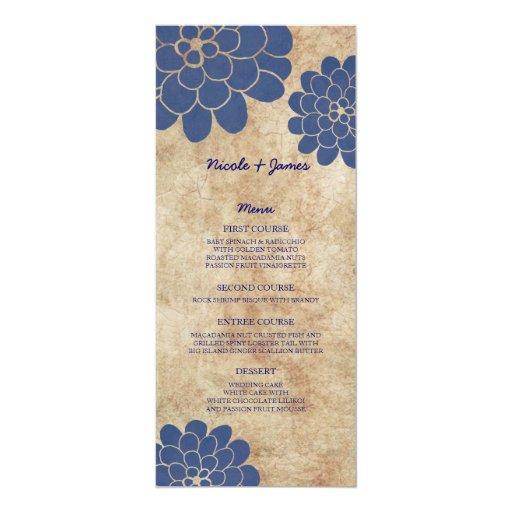 Menú floral del boda de la dalia azul del vintage anuncios