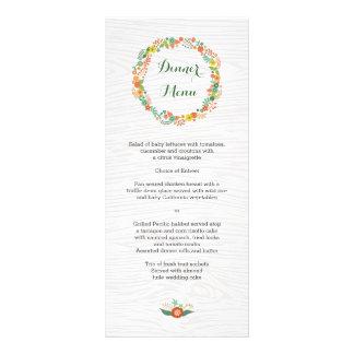 Menú floral del boda de la guirnalda del grano de  tarjeta publicitaria a todo color