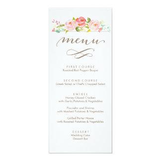 """Menú floral del boda de la rosaleda invitación 4"""" x 9.25"""""""