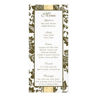 Menú floral del boda del damasco de 25 Brown de la Lona Personalizada