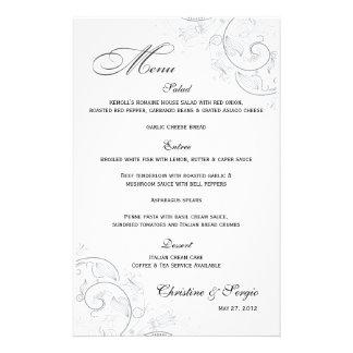 Menú floral del boda del estaño elegante  papeleria