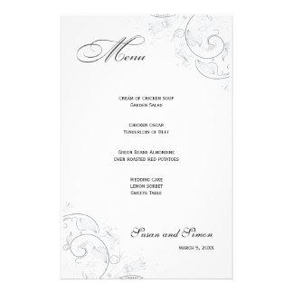 Menú floral del boda del estaño elegante papelería