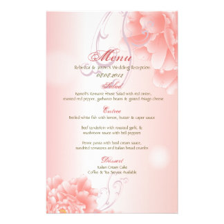 menú floral del boda del Peony rosado moderno del  Papelería De Diseño