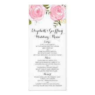 """Menú floral del boda del rosa moderno del vintage invitación 4"""" x 9.25"""""""