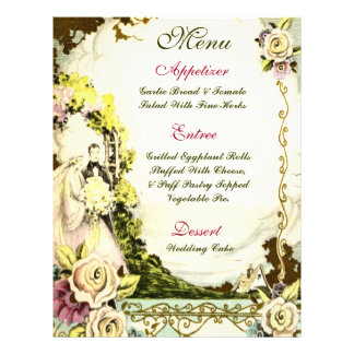 Menú FLORAL del boda del VINTAGE Folleto 21,6 X 28 Cm