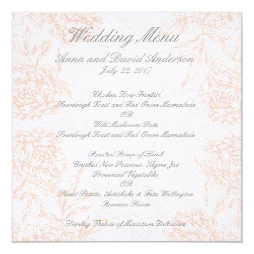 """Menú floral gris anaranjado del boda del vintage invitación 5.25"""" x 5.25"""""""