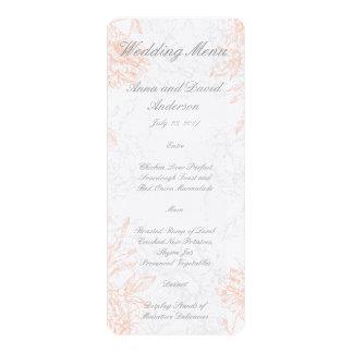 """Menú floral gris coralino del boda del vintage invitación 4"""" x 9.25"""""""