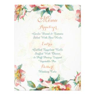"Menú floral lindo del boda folleto 8.5"" x 11"""