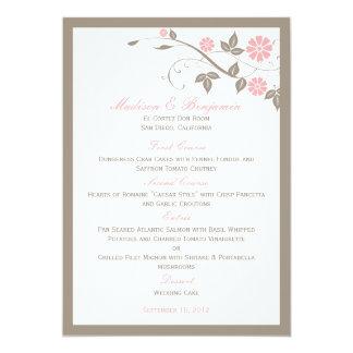 Menú floral moderno del boda - suavemente rosa invitaciones personalizada