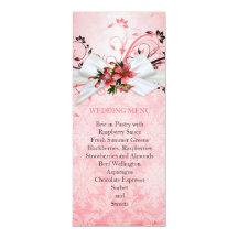 """Menú floral rosado elegante del boda del damasco invitación 4"""" x 9.25"""""""