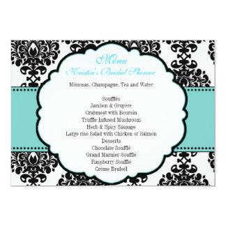 Menu for Blue Bridal Shower Damask Card
