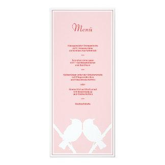 Menu for its wedding menu (pink red knows) card