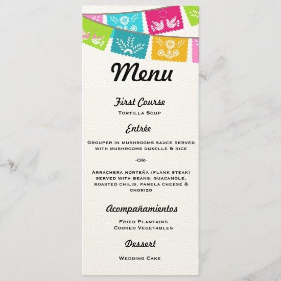 Menu for Wedding or Fiesta