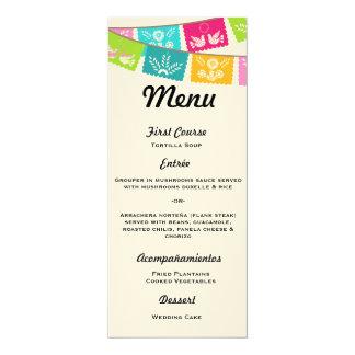 Menu for Wedding or Fiesta 4x9.25 Paper Invitation Card