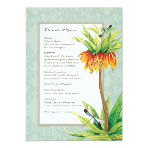 Menú formal de la cena de la libélula elegante del invitaciones personalizada