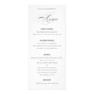 Menú formal de la cena del boda elegante de los invitaciones personalizada