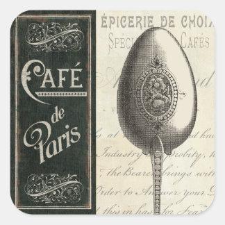 Menú francés calcomanía cuadradas