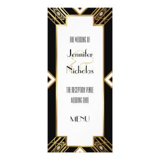 Menú geométrico del boda del art déco atractivo tarjeta publicitaria a todo color