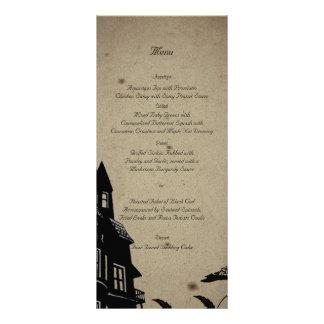 Menú gótico del boda de la casa del vintage tarjeta publicitaria a todo color