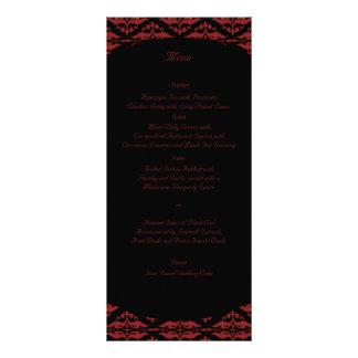 Menú gótico del boda del damasco rojo y negro lona