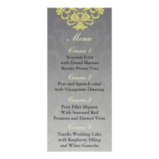 menú gris amarillo del boda